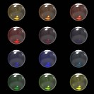 Glass different color balls group isolated on black background