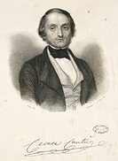 Signed portrait of Cesare Cantu' (Brivio, 1804 - Milan, 1895), historian, critic and novelist. Engraving by Adolphe Rouargue (1810-after 1870), 1843. ...