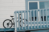 Bicycle at wooden fence ; Baffin Island; Canada