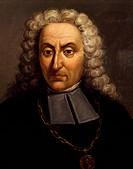 Portrait of Giacomo Antonio Perti (Bologna, 1661 - Bologna, 1756), Italian composer.  Bologna, Civico Museo Bibliografico Musicale (Music Museum)