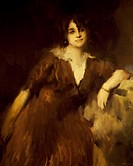 Portrait of Rosina Storchio (Venice, 1872 - Rome, 1945), Italian soprano. Painting by Ambrogio Alciati.  Milan, Museo Teatrale (Scala)