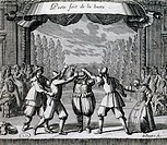 Scene from a play by Moliere (1622-1673). Engraving by Jean Le Paultre (1618-1682). France, 17th century.  Paris, Bibliothèque Des Arts Decoratifs (Li...