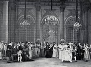 Scene from Act IV of The Marriage of Figaro by Pierre-Augustin Caron de Beaumarchais (1732-1799), performance given at Comedie-Francaise in Paris, 191...