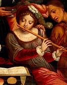 Musicians, by Pieter Coecke van Aelst the Elder (1502-1550), oil on canvas. Detail. Belgium, 16th century.  Venice, Museo Correr (Art Museum)