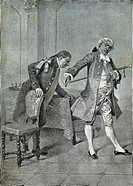 Scene from the comedy The Benevolent Curmudgeon, by Carlo Goldoni (1707-1793), engraving from 1888 by Giacomo Mantegazza (1853-1920).  Milan, Bibliote...