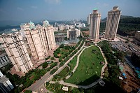 Nicely maintained garden by Brihanmumbai Municipal Corporation situated high rises at Hiranandani gardens in Powai , Bombay Mumbai , Maharashtra , Ind...