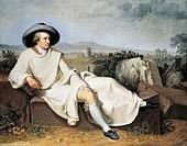 Goethe in the Roman countryside, 1786-1787, by Johann Heinrich Wilhelm Tischbein (1751-1829).  Frankfurt, Städelsches Kunstinstitut Und Städtische Gal...