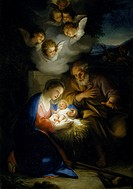 Birth of Christ, 1754-1755, by Anton Raphael Mengs (1728-1779), oil on panel, 65x47 cm.  Braunschweig, Stadtisches Museum Braunschweig (Art Museum)