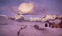 Triptych of the Alps, death, ca 1898, by Giovanni Segantini (1858-1899), oil on canvas.  Saint Moritz, Segantini Museum (Art Museum)