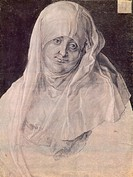 St Anne with her head covered by a veil, by Albrecht Durer (1471-1528), drawing.  Vienna, Albertina (Collection Of Graphic Art)