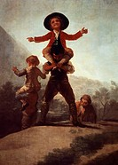 Playing at giants, 1791-1792, by Francisco de Goya (1746-1828), oil on canvas, 267x160 cm.  Madrid, Museo Del Prado