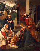 Nativity with St Bernard and St Alberico, ca 1505-1510, by Ludovico Mazzolino (ca 1480-ca 1530), oil on canvas, 219x176 cm.  Ferrara, Pinacoteca Nazio...