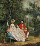 Conversation in the park, 1746, by Thomas Gainsborough (1727-1788), oil on canvas, 73x68 cm.  Paris, Musée Du Louvre
