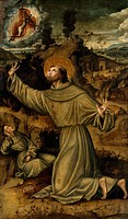 Stigmata of St Francis, part of the dismembered Santo Cristo Altarpiece, 1533,by Pietro Cavaro (active from 1508-1537 or 1538), panel. St Francis Chur...