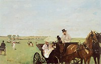 Carriage at the Races, 1872, by Edgar Degas (1834-1917), oil on canvas, 36x56 cm.  Boston, Museum Of Fine Arts