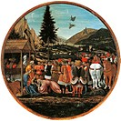 Adoration of the Magi, 1435-1440, by Domenico Veneziano (ca 1400-1461), tempera on panel, diameter 84 cm.  Berlin, Gemäldegalerie (Picture Gallery)