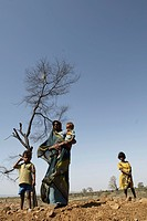 Rural woman with children ; Chitrakoot ; Uttar Pradesh ; India