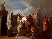 Martyrdom of St Lawrence, by Johann Heinrich Schonfeld (ca 1609-1683), oil on canvas, 75x101 cm.  Napoli, Casa Natale Di Sant'Alfonso Maria De Liguori