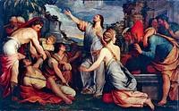 Raising of Lazarus, 1540-1545, by Giuseppe Porta (ca 1520-ca 1575), 209x311 cm.  Venezia Isola Di San Giorgio Maggiore, Fondazione Giorgio Cini Collez...