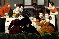 Galant breakfast, ca 1540, by an unknown artist from the Fontainebleau school. Detail.  Aix-En-Provence, Musée Granet (Archaeological And Art Museum)