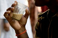 Drinks , Indian police taking tea