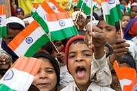 Muslim children with Indian flag on republic day 26th January in Varanasi ; Uttar Pradesh ; India