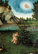 Adam and Eve in The Garden of Eden, 1530, by Lucas Cranach the Elder (1472-1553), oil on panel. Detail.  Vienna, Kunsthistorisches Museum (Museum Of F...