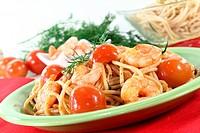 Spaghetti mit Shrimps