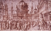Presentation of the Virgin in the Temple by Vittore Carpaccio (ca 1465- ca 1526), drawing.  Florence, Galleria Degli Uffizi (Uffizi Gallery)