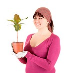 cheerful woman with plant in pot