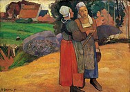 Breton peasant women, 1894, by Paul Gauguin (1848-1903), oil on canvas, 66x92 cm.  Paris, Musée D'Orsay (Art Gallery)