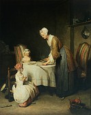 Prayer before meal Benedicite, 1744, by Jean Baptiste Simeon Chardin 1699_1779