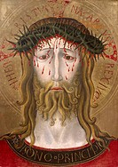 Christ crowned with thorns, by Benedtto Bonfigli (ca 1420-1496), 55x41 cm.  Perugia, Galleria Nazionale Dell'Umbria (Art Gallery)