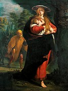 Flight into Egypt, ca 1620, by Giovanni Andrea Ansaldo (1584-1638), oil on canvas, 170x127 cm.  Rome, Galleria Nazionale D'Arte Antica Di Palazzo Cors...