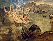 Jonah is thrown overboard during the storm, 1606, French painting, oil on canvas. Detail.  Rheims, Musée Des Beaux-Arts