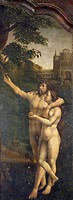 Adam and Eve, rear side panel of the Malvern Triptych, 1511-1515, by Jan Gossaert (ca 1472-1532), oil on panel.  Palermo, Galleria Regionale Della Sic...