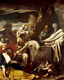 Sacrifice of Moses, by Massimo Stanzione (1585-1656), oil on canvas, 288x225 cm.  Naples, Museo Nazionale Di Capodimonte (Art Gallery)