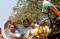 Left_arm spinner Iqbal Abdulla being welcomed after winning the U_19 Cricket World Cup, Bombay now Mumbai , Maharashtra , India NO MR