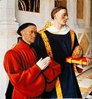 Etienne Chevalier and Saint Stephen, by Jean Fouquet (1420-1480).  Berlin, Gemäldegalerie (Picture Gallery)