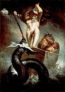 Thor fighting the Midgard snake, 1788, by Johann Heinrich Fussli (1741-1825), oil on canvas, 131x91 cm.  London, Royal Academy Of Arts