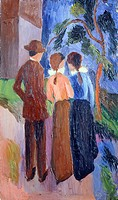 The walk, 1914, by August Macke (1887-1914), oil on canvas, 33x56 cm.  Lugano-Castagnola, Villa Favorita