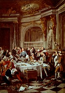 Lunch of Oysters, 1737, by Jean Francois de Troy (1679-1752), oil on canvas, 180x126 cm.  Chantilly, Château, Musée Condé (Picture Gallery And Art Mus...