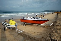 Water sports equipment on calungute beach ; Goa ; India