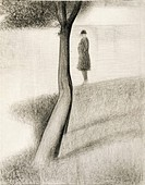 Man standing next to a tree; study on La Grande Jatte, 1884-1885, by Georges Seurat (1859-1891), pencil on paper.  Wuppertal, Von Der Heydt-Museum (Ar...