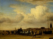 Carriage on Scheveningen Beach, 1660, by Adriaen van de Velde 1636_1672, 37x49 cm
