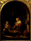 The Seller of Spices, 1672, by Gerrit Dou (1613-1675), oil on panel.  Paris, Musée Du Louvre