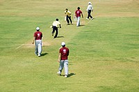Cricket players playing cricket , Parsi gymkhana , Marine Line , Bombay now Mumbai , Maharashtra , India