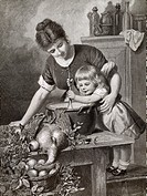 Child cooking with her mother, 1889, illustration from Illustrated London News.
