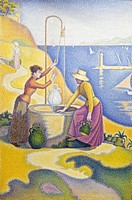 Women at the well, 1892, by Paul Signac (1863-1935), oil on canvas, 195x131 cm.  Paris, Musée D'Orsay (Art Gallery)