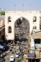 Bazaar gate near Charminar built by Mohammed quli qutb shah in 1591 standing 56 meter High and 30 meter wide , , Andhra Pradesh , India